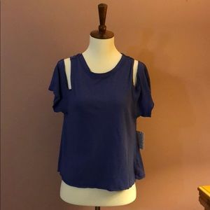 We the Free-Free People Blue Crossback Tee NWT - S